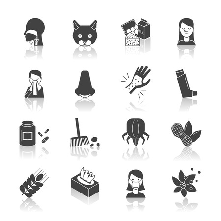 rhinitis: Allergy icon black set with allergens medicine and treatment symbols isolated vector illustration