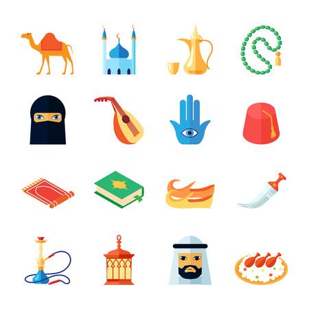 różaniec: Kultura i religia środkowy wschód tradycyjny zestaw ikon płaskie izolowane ilustracji wektorowych Arabski Ilustracja