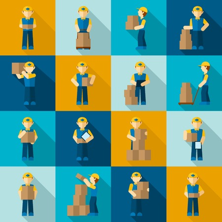 Delivery man courier job merchandise business icon flat set isolated vector illustration