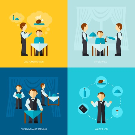 waiter tray: Waiter man job design concept with customer order vip service cleaning and serving icon flat set isolated vector illustration Illustration