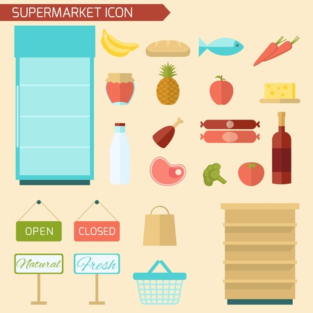supermarket shopping cart: Supermarket decorative icon flat set with food items and store shelves isolated vector illustration