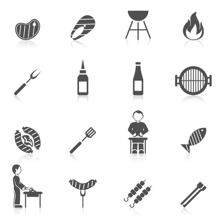Bbq grill equipment icon black set with skewer ketchup sauce isolated vector illustration Vettoriali