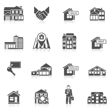 commercial real estate: Real estate commercial buildings rent business black icon set isolated vector illustration Illustration