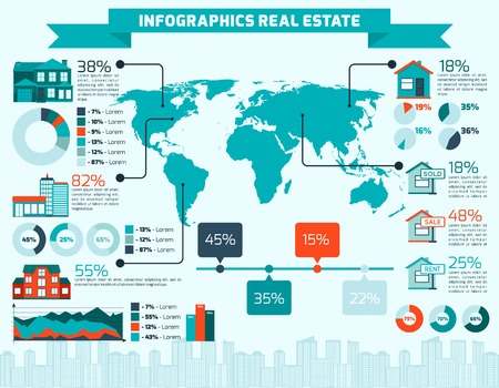 Real estate apartment sale and rent infographics with world map and charts vector illustration