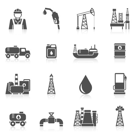 dispenser: Oil industry black icons set with worker gasoline dispenser drilling plant isolated vector illustration