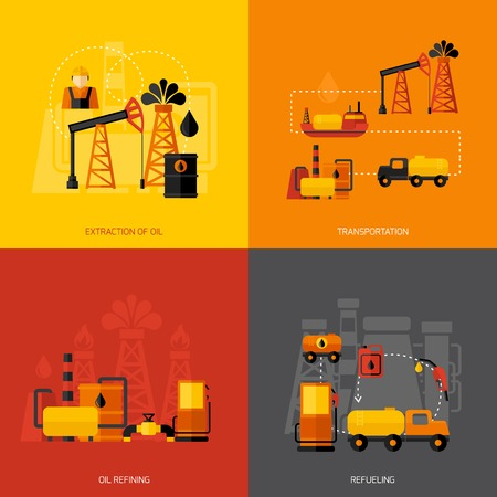 refueling: Oil industry design concept set with extraction transportation refining refueling flat icons isolated vector illustration