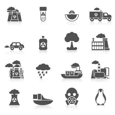 Pictogram van de aarde vervuiling zwart set met planten auto machines geïsoleerde vector illustratie Stock Illustratie