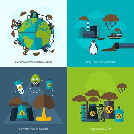 peligro: Contaminaci�n concepto de dise�o conjunto con la contaminaci�n ambiental plantas operativas de peligro bacteriol�gico iconos planos aislados ilustraci�n vectorial Vectores