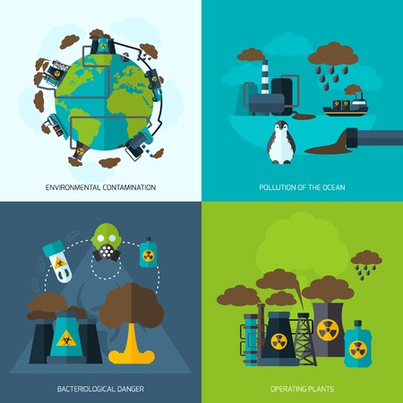 bacteriological: Pollution design concept set with environmental contamination bacteriological danger operating plants flat icons isolated vector illustration Illustration