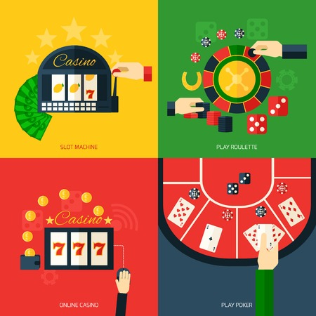 hotel casino: Casino design concept set with slot machine play roulette online poker icon flat isolated vector illustration Illustration