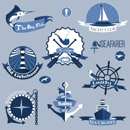 skipper: Sea nautical navigation skipper blue labels set isolated vector illustration