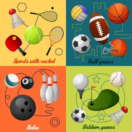 Juegos del deporte al aire libre Squash Tenis accesorios de rugby de baloncesto de fútbol cuatro iconos planos aislados composición abstracta ilustración vectorial Ilustración de vector