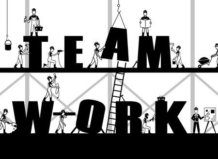 Teamwork Poster mit Bauprozess und schwarz Builder Menschen Silhouetten Vektor-Illustration Illustration
