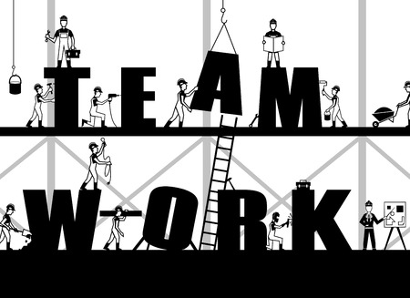 constructions: Teamwork poster with construction process and black builder people silhouettes vector illustration