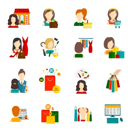 woman computer: Woman shopping icon flat set with cosmetics accessories fashion symbols isolated vector illustration