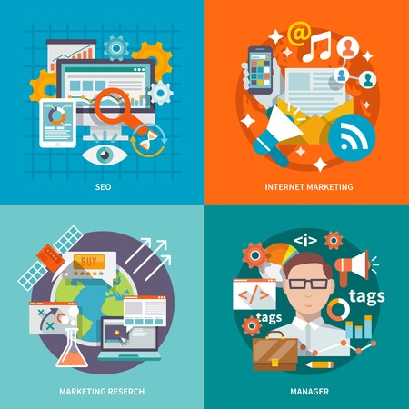 social web sites: Seo internet marketing design concept with research manager flat icons set isolated vector illustration