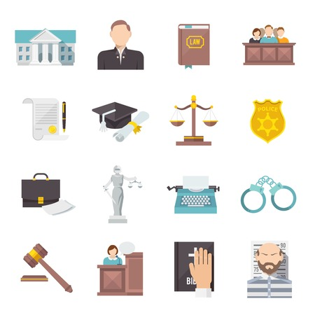 criminal law: Law and judgment legal justice icon flat set isolated vector illustration