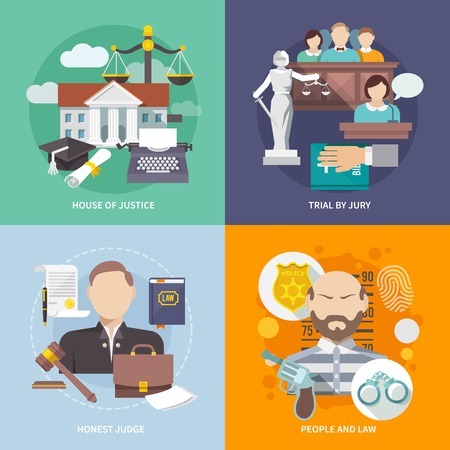 trials: Law design concept with house of justice trial by jury honest judge icon flat set isolated vector illustration