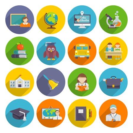escuela: Icono de la escuela conjunto plana con estudiantes portátiles pizarra aislado ilustración vectorial