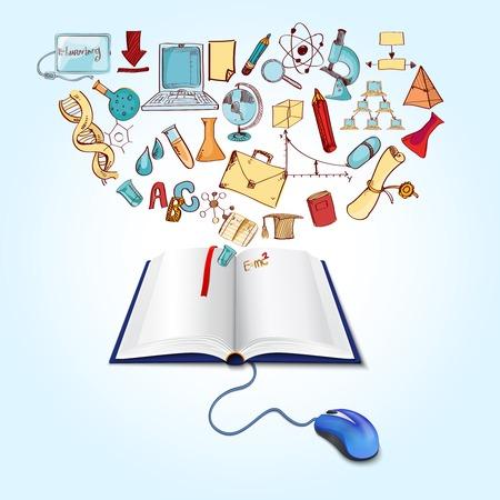 Online-Bildung-Konzept mit Computer-Maus und Buch Skizze Wissenschaft Icons Set Vektor-Illustration Standard-Bild - 35435074
