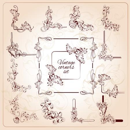 bordure de page: Coins classiques calligraphiques vintage set de volutes florales isol�es illustration vectorielle