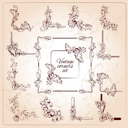 Vintage calligraphic classic corners set with floral scrolls isolated vector illustration