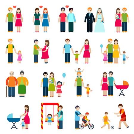 結婚されていたカップル子供と親の分離ベクトル イラスト家族の数字のアイコンを設定します。  イラスト・ベクター素材
