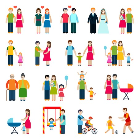 Family figures icons set with married couple children and parents isolated vector illustration Illustration