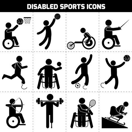 personas discapacitadas: Deportes para Discapacitados pictograma negro personas inv�lidas iconos conjunto ilustraci�n vectorial aislado
