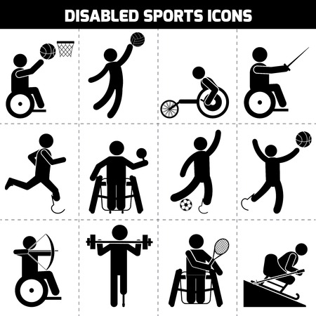summer field: Disabled sports black pictogram invalid people icons set isolated vector illustration