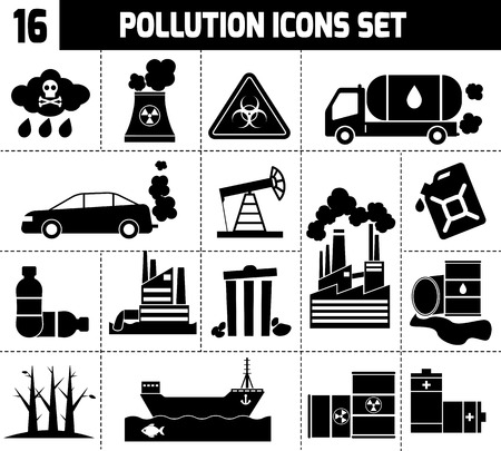 Pollution icons black set with garbage factories cars smoking plants isolated vector illustration Illustration