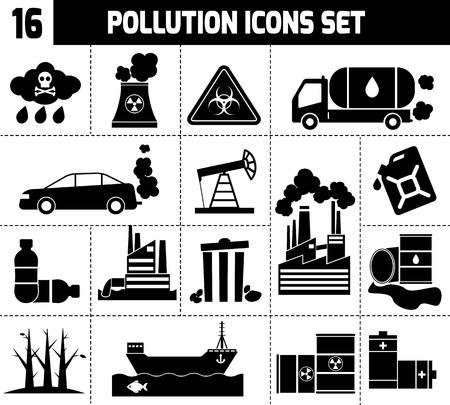 Vervuiling pictogrammen zwart set met afval fabrieken auto's roken planten geïsoleerde vector illustratie Stock Illustratie