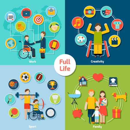 people with disabilities: Disabled life design concept set with work creativity sport family flat icons isolated vector illustration