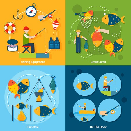 fishing industry: Fishing design concept set with equipment catch campfire hook flat icons set isolated vector illustration Illustration