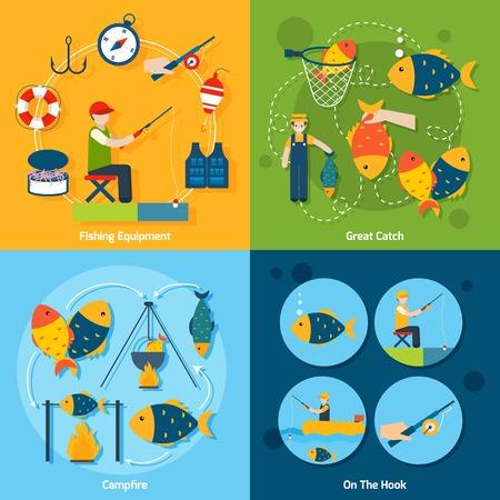 pesca: Pesca concepto de dise�o conjunto con los iconos planos capturas equipos de gancho fogata establece ilustraci�n vectorial aislado