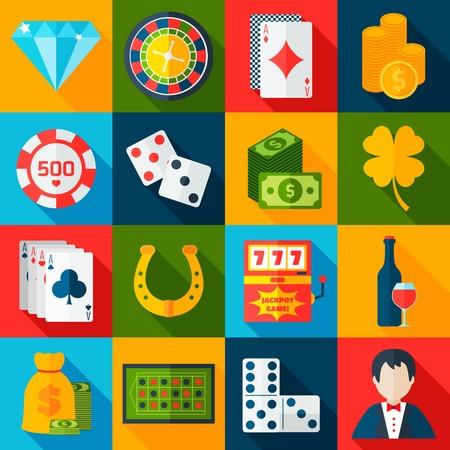 maquinas tragamonedas: Iconos planos de juego del casino fijaron con chips de m�quinas tragamonedas de herradura aislado ilustraci�n vectorial