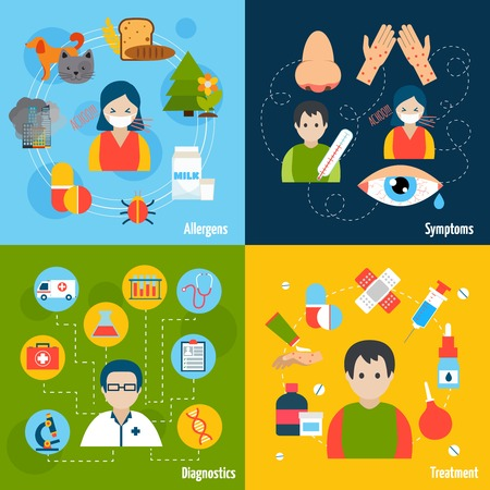 rhinitis: Allergies design concept set with allergens symptoms diagnostics and treatment flat icons isolated vector illustration