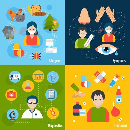 s�ntomas: Concepto de dise�o Alergias conjunto con alergenos s�ntomas diagn�sticos y de tratamiento iconos plana aislado ilustraci�n vectorial