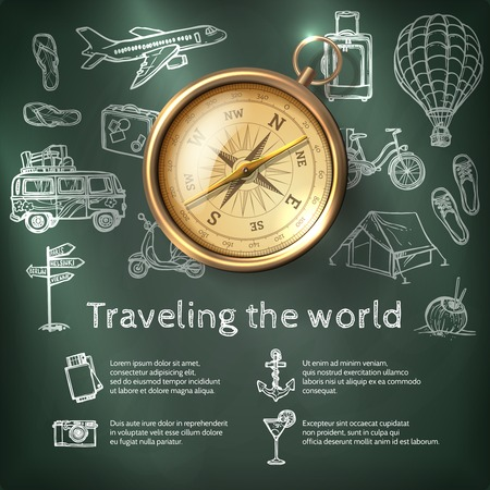 brujula: Cartel del viaje del mundo con el comp�s y el turismo y elementos pizarra holiday ilustraci�n vectorial