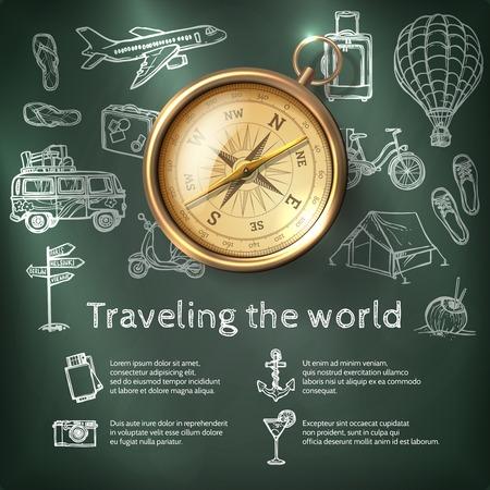 kompas: Světový cestovní plakát s kompasem a cestovního ruchu a rekreační tabuli prvky vektorové ilustrace Ilustrace