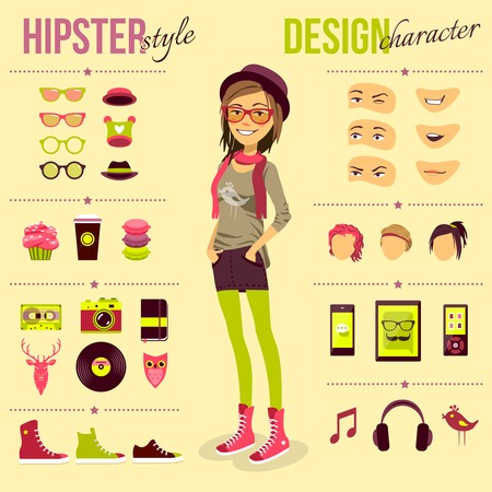 nerd girl: Hipster girl set with fashion accessory customizable elements isolated vector illustration
