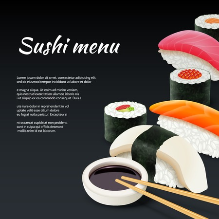 Sushi menu seafood with soy sauce on black background vector illustration