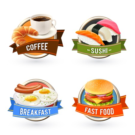 croissant: Breakfast labels set with coffee sushi fried egg fast food hamburger isolated vector illustration
