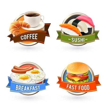 botanas: Etiquetas Conjunto del desayuno con huevo sushi caf� frito hamburguesa de comida r�pida ilustraci�n vectorial aislado