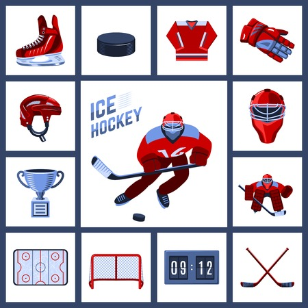 hockey players: Ice hockey icon set with sport uniform protective outfit isolated vector illustration Illustration