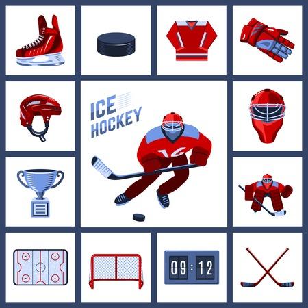 Icono del hockey sobre hielo establece con uniforme deportivo indumentaria de protección ilustración vectorial Foto de archivo - 35435232