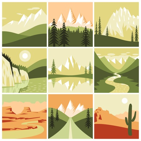 tourism: Nature mountain landscapes tourism decorative icons set isolated vector illustration