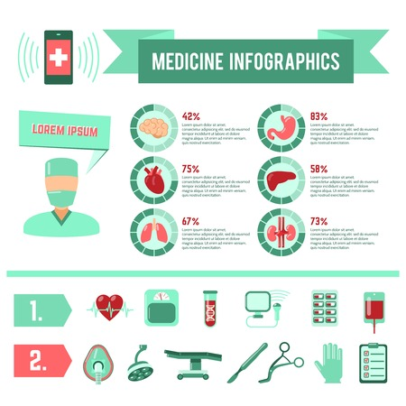 plastic heart: Surgery medicine infographics with surgeon operation symbols and charts vector illustration Illustration