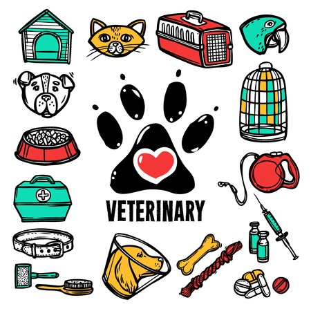 symbol decorative: Veterinary pet health care hand drawn decorative icon set vector illustration