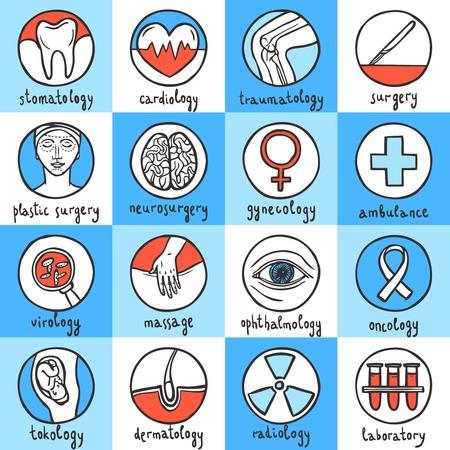 oncology: Medical sketch icon set with stomatology cardiology traumatology surgery isolated vector illustration Illustration